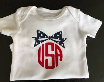 4th of July USA Bow Onsie