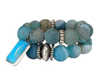 Boho  bracelet set - Boho beaded bracelets  - Beaded bracelet set  - Boho stack bracelets  - Bracelet set boho - Blue bracelet stack