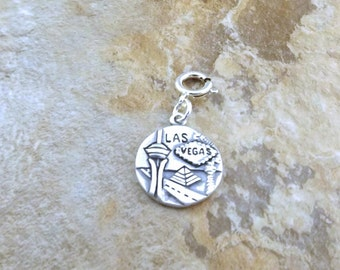 Sterling Silver Double Sided  Las Vegas Charm - Fits Both a European and Traditional Charm Bracelet -  1821