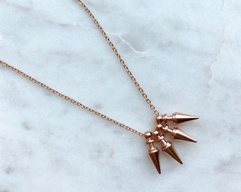 Rose gold necklace / spike necklace / minimalist necklace / dainty necklace / delicate necklace / geometric necklace / layered necklace