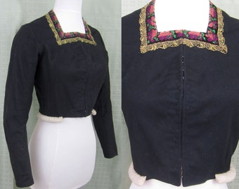 Antique Hand Stitched Bodice/Jacket - Black Wool - Foil Lace Guilloche buttons - 1800s