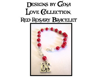Love Collection Red Rosary Silver Tone Beaded Bracelet DG0030B1 Handmade Handcrafted Original Designs by Gina Red Rosary Beads