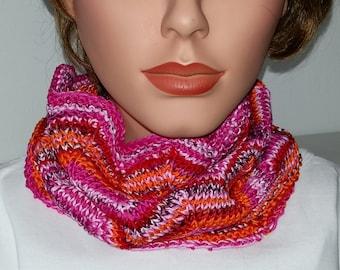 Scarf Snood Summer Cowl pink/ violett/ orange  100% Cotton