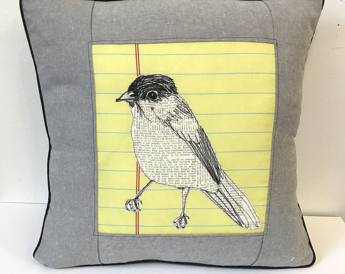 Featured listing image: California Gnatcatcher Freehand Machine Stitch Pillow