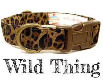 """Girl Dog Collar - Cheetah Brown Leopard Dog Collar - Antique Metal Hardware - """"Wild Thing"""""""