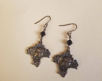 Vintage Sterling Silver Goddess Earrings Gypsy Woman, Art Deco Nouveau Witch