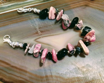 Pink and black rhodochrosite and black multicolor gemstone medical alert bracelet available in five sizes