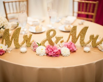 Gold Glitter Mr and Mrs Signs Wedding Sweetheart Table Decor Mr & Mrs Wooden Letter Large Thick Mr and Mrs Wedding Sign (Item - MTS100)