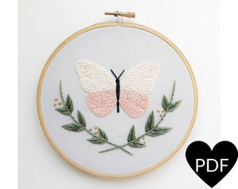 Butterfly Embroidery Pattern, PDF Pattern, Nature Inspired Craft, Hand Embroidery Pattern, Instant Download PDF, Printable Pattern, DIY Gift