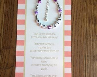 Big sister bracelet-big sister gift-big sister card-new baby gift