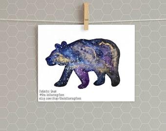 Galactic Bear   Digital Download   8x10   Watercolor Galaxy