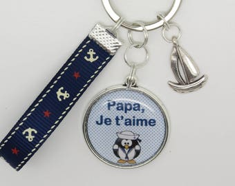 KEYCHAIN personalized gift for Dad, brother... passion of sea, sailboat...