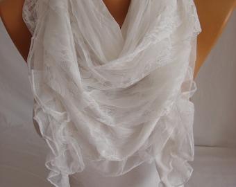 White Triangle Tulle, Lace Accessory Woman Scarf ESCHERPE