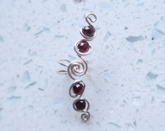 Silver and Garnet Wire Wrapped Ear Cuff