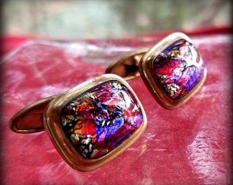 Irridescent Art Glass Cuff Links