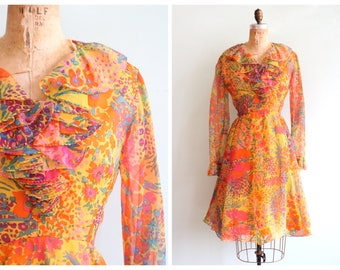 Vintage 1960's Yellow Floral Ruffled Dress | Size Medium