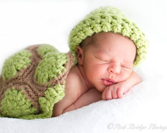 Crochet Infant Turtle Shell With Matching Hat