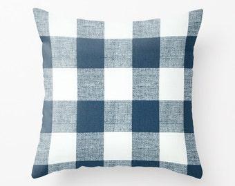 Blue Pillow cover Plaid Pillow Cover Decorative Pillow Cover Nautical Pillows Size Choice
