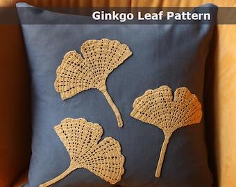ginkgo crochet pattern applique crochet applique pattern crochet throw pillow crochet leaf pattern crochet home decor modern crochet pattern