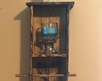 Rustic pallet wall shelf