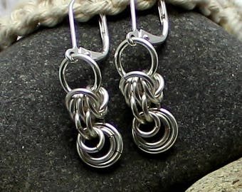 Silver Earrings, Chainmail Jewelry, Gift for Her, Dangle Earrings, Dainty Earrings, Everyday Earrings, Silver Jewellery, Handwoven, Artisan