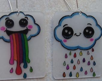 kawaii Rainbow cloud earrings
