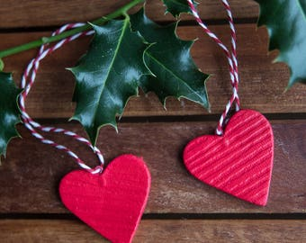 Red heart Christmas ornaments ( set of 5)