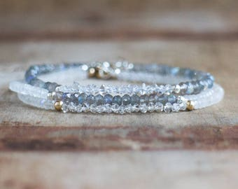 Gemstone Stacking Bracelets - Moonstone/Herkimer Diamond/Labradorite