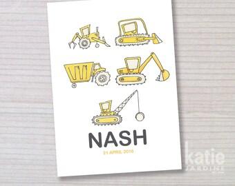 childrens wall art - nursery art - boys wall art - boys name print - diggers - Dump trucks