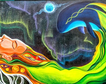 """Original Indonesian Psychedelic Surreal Art Acrylic Painting """"Wild Lucid"""" FREE SHIPPING"""