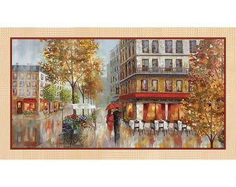 Red Umbrella, City Sidewalk, Romantic Promenade - Ruanne Manning, Artworks Digital Galaxy Graphics for QT Fabrics 24638 - Panel 24 Inch