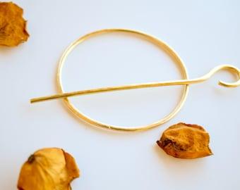 Brass hair pin, hammered brass hair slide, hair accessory, bun pin, hair holder, hair jewelry