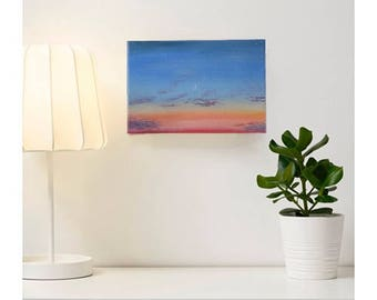 """Oil Painting """"Bright Sunset. C Moon."""" Handmade Picture"""