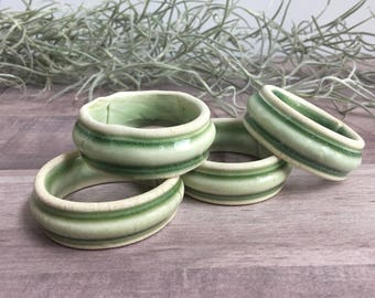 Vintage Napkin Rings - Hand Formed Ceramic - Soft Green Glaze - Set of Four - Table Setting - Imperfect - Functional Art - Entertaining
