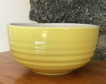 Hand Painted Lemon Yellow Glazed Pottery Bowl