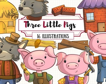 Cute Three Little Pigs Clip Art Collection, Kawaii Pigs Clipart, Three Little Pigs Story, Big Bad Wolf Illustrations, Pig Party Invite