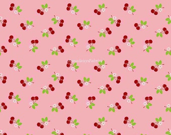 Sale - Sew Cherry 2, Riley Blake Fabric, Lori Holt, C5804 Pink, Bee in My Bonnet, Pink Cherry Quilt Fabric, Cotton