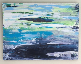 Large, Abstract, Acrylic Painting, Art on Canvas, Bold, Original, Water, Lake, Painting, Wall Art, Blue, Green, Florida: Lake In Spring