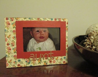4x6 Aunt Themed - Hand Decorated Picture Frame