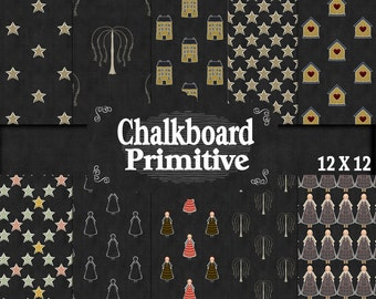 Chalk Papers, Primitive papers, 12 x 12 Papers, Instant download