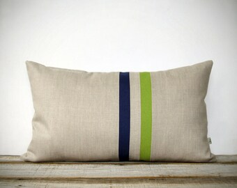 Lime Green and Navy Striped Pillow - 12x20 - Modern Home Decor by JillianReneDecor | Colorful Colorblock Stripes | Apple Green | Spring