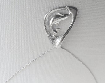 Angelic Dolphin Necklace in Sterling Silver, Dolphin Jewelry