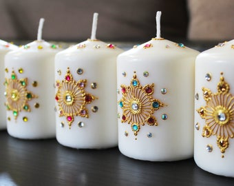 Mehndi For Candles : Set of floating henna candles more colors available