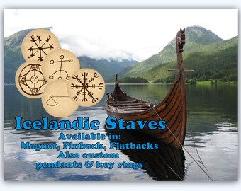 Icelandic Staves Magnets Pins Nordic Symbols Norse Party Favors Magnet Pin Gift Sets