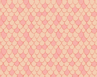 Scales in Pink Chai  - HALF YARD - Under the Sea Camelot Fabrics - Cotton Fabric - Quilting Fabric