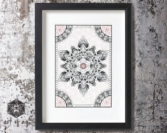"A4  Print  ""Seed to Flower'   (unframed)  //  Sacred Geometry //  Flower of Life //  Mandala  //  Dotwork  // Wall Art // Wall Decor //"