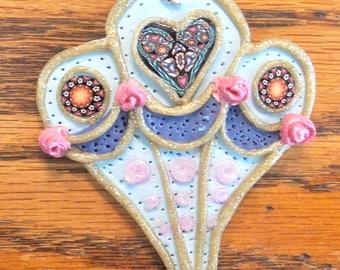 Victorian Hearts Hot Air Balloon Pendant Handmade Polymer
