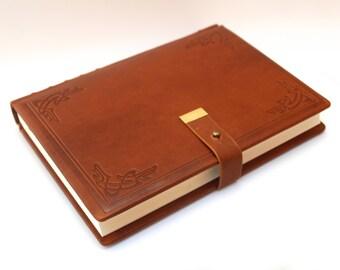 "Leather book/journal ""Art Nouveau"" vintage, handmade"