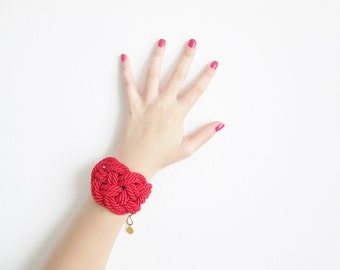 Red Rope bracelet Rope knot bracelet