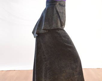 Awesome Vintage 80s Acid Wash Ruffle Denim Skirt - Frontier Rider